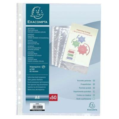 Geperforeerde pouch Exacompta transparant A4 glad 6/100E - per 50-Documentbescherming